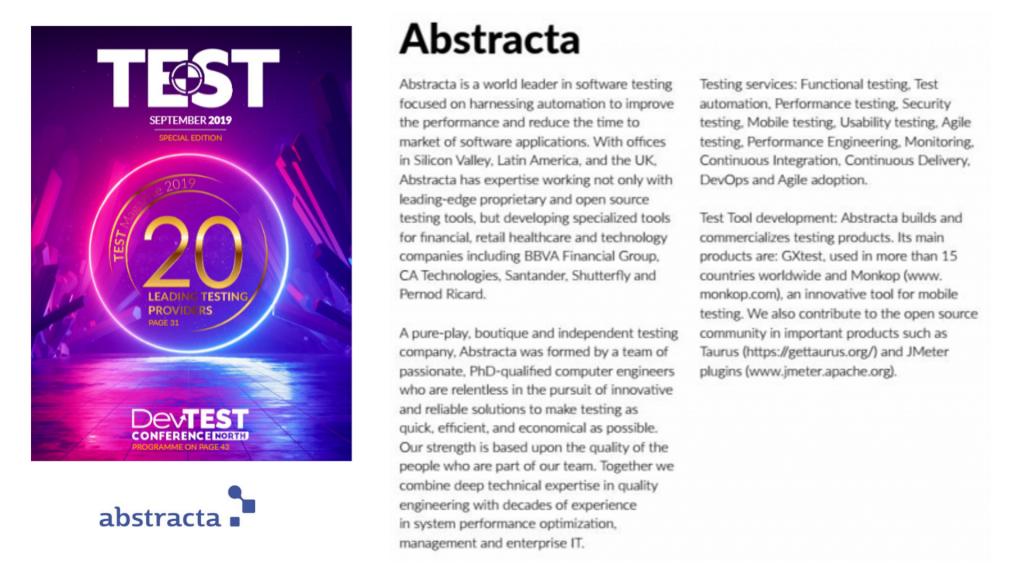 Abstracta es reconocida dentro del Top 20 de mejores proveedores de servicios de pruebas de software por TEST Magazine
