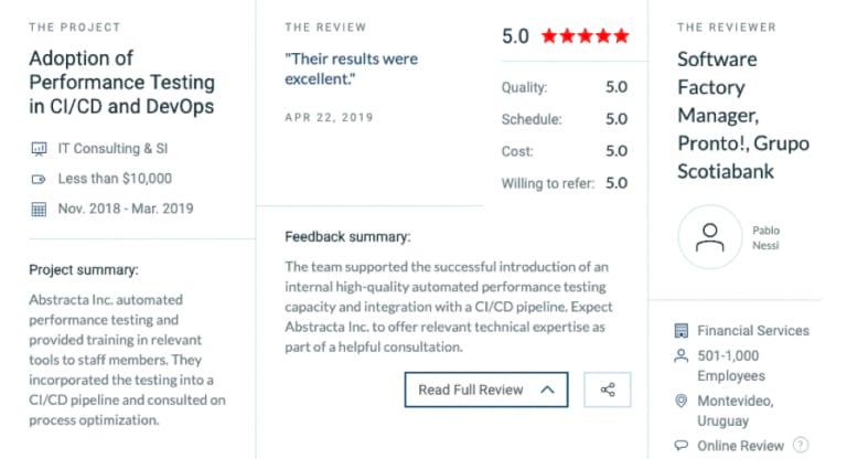 Reseña de Abstracta por Scotiabank en Clutch.co como proveedor de pruebas de software