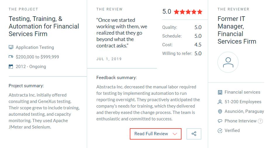 Reseña de Abstracta, empresa de qa y testing de software en Clutch.co