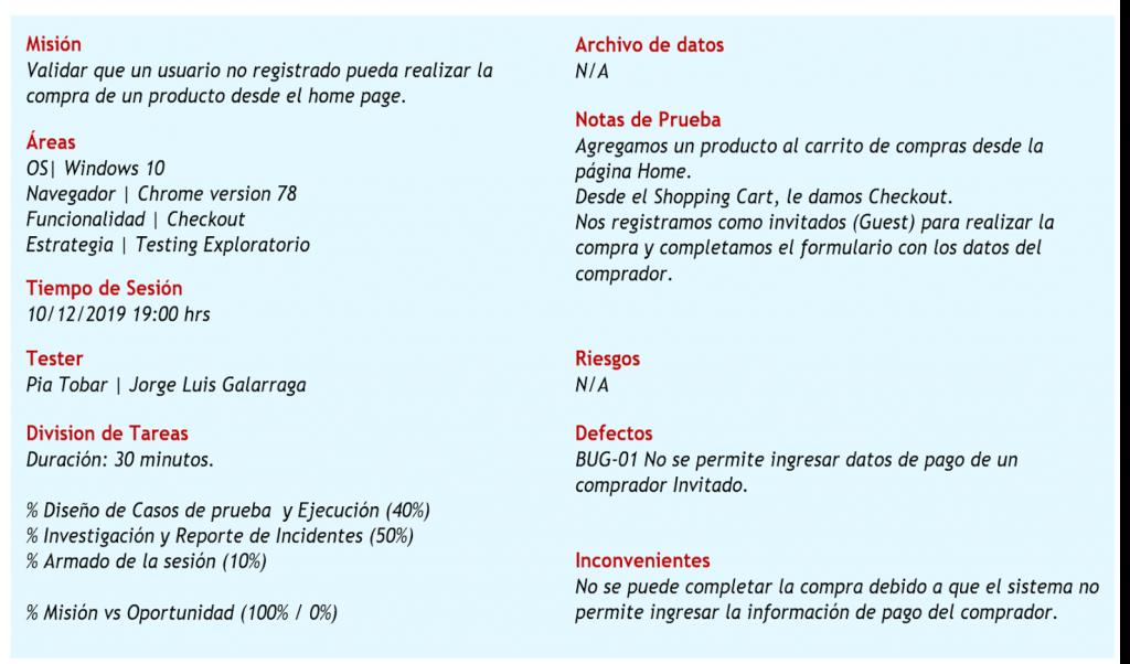 Ejemplo del registro de una Sesión de Prueba al realizar Testing Exploratorio