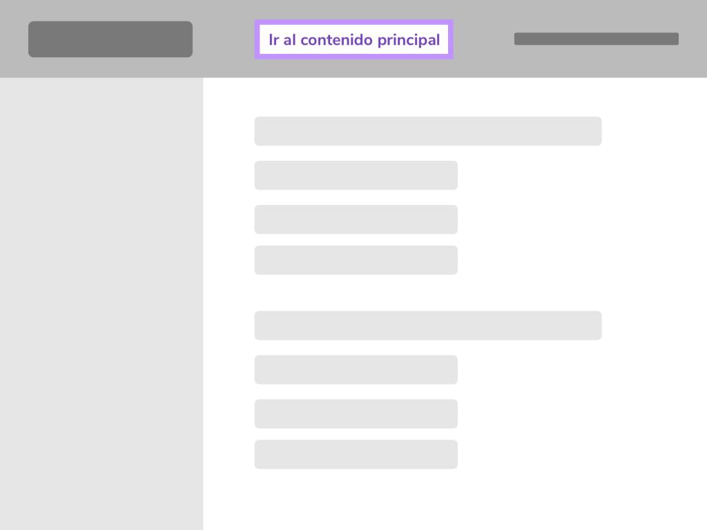 Visibilidad del enlace para acceder al contenido principal dentro de un texto.