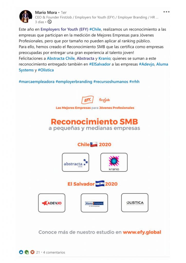 Mario Mora, Fundador de FirstJob y EFY destaca a Abstracta Chile entre las mejores pequeñas-medianas empresas para Jóvenes Profesionales en Chile 2020