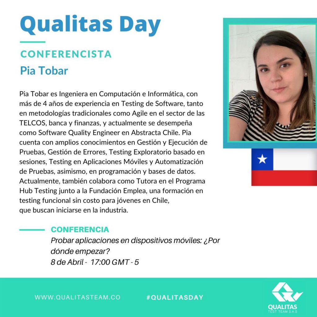 Charla de Pia Tobar sobre Testing Móvil en Qualitas Day