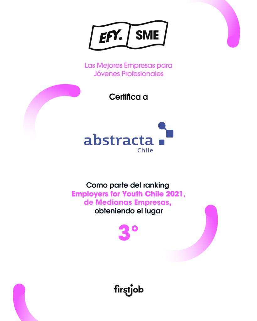 Abstracta ocupa el 3er lugar del Ranking Employers for Youth Chile 2021 de Medianas Empresas, otorgado por First Job