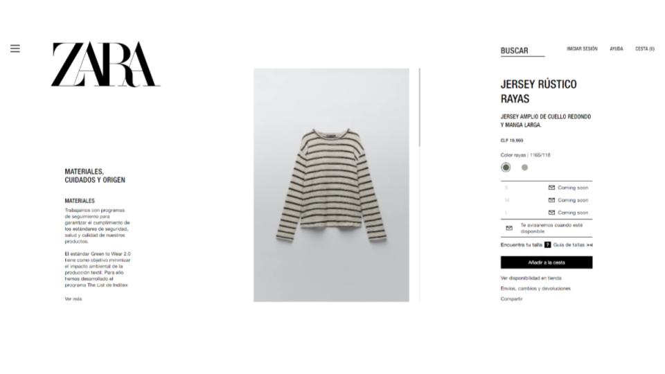 Ejemplo Heurística de Nielsen: Estética y diseño minimalista